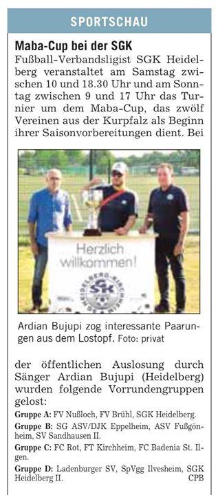 Am kommenden Wochenende in Kirchheim im Sportzentrum Süd. MABA CUP 2018